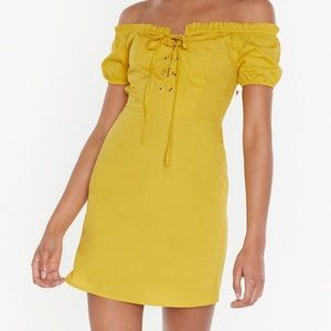 Off the Shoulder Lace Up Mini dress